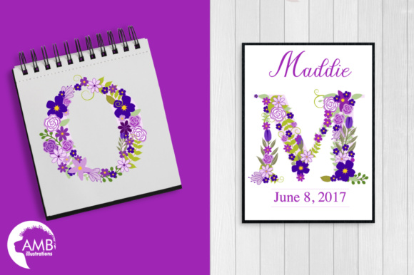 Floral Letters Purple Graphic Illustrations By AMBillustrations - Image 5