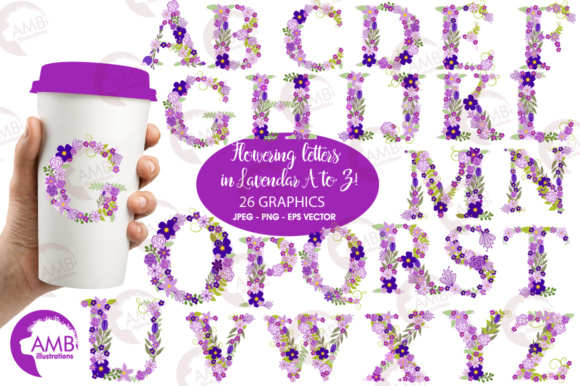 Floral Letters Purple Graphic Illustrations By AMBillustrations