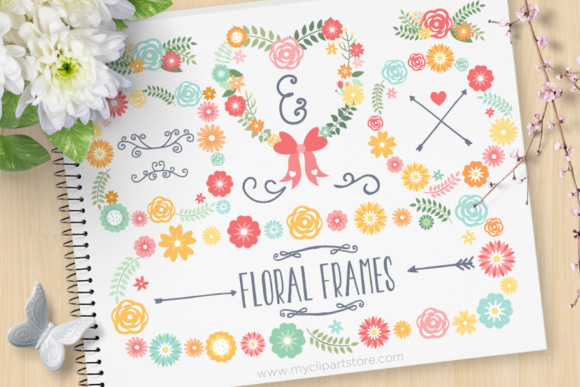 Print on Demand: Floral Wreath Frames Clipart Graphic Illustrations By MyClipArtStore