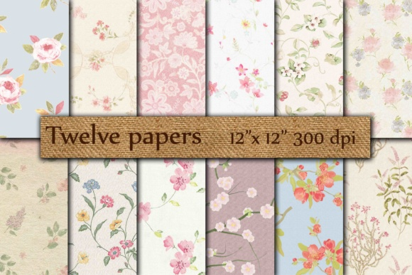 Floral Digital Paper Graphic Backgrounds By twelvepapers