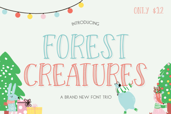 Download Free Forest Creatures Trio Font By Salt Pepper Designs Creative for Cricut Explore, Silhouette and other cutting machines.