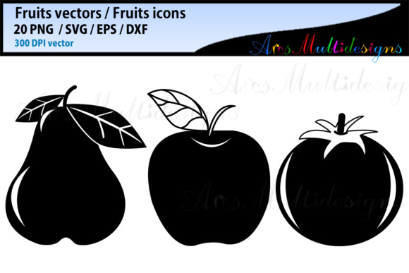 Download Free Fruits Silhouette Bundle Graphic By Arcs Multidesigns Creative for Cricut Explore, Silhouette and other cutting machines.