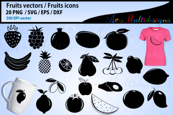 Print on Demand: Fruits SVG Silhouette Bundle Graphic Illustrations By Arcs Multidesigns