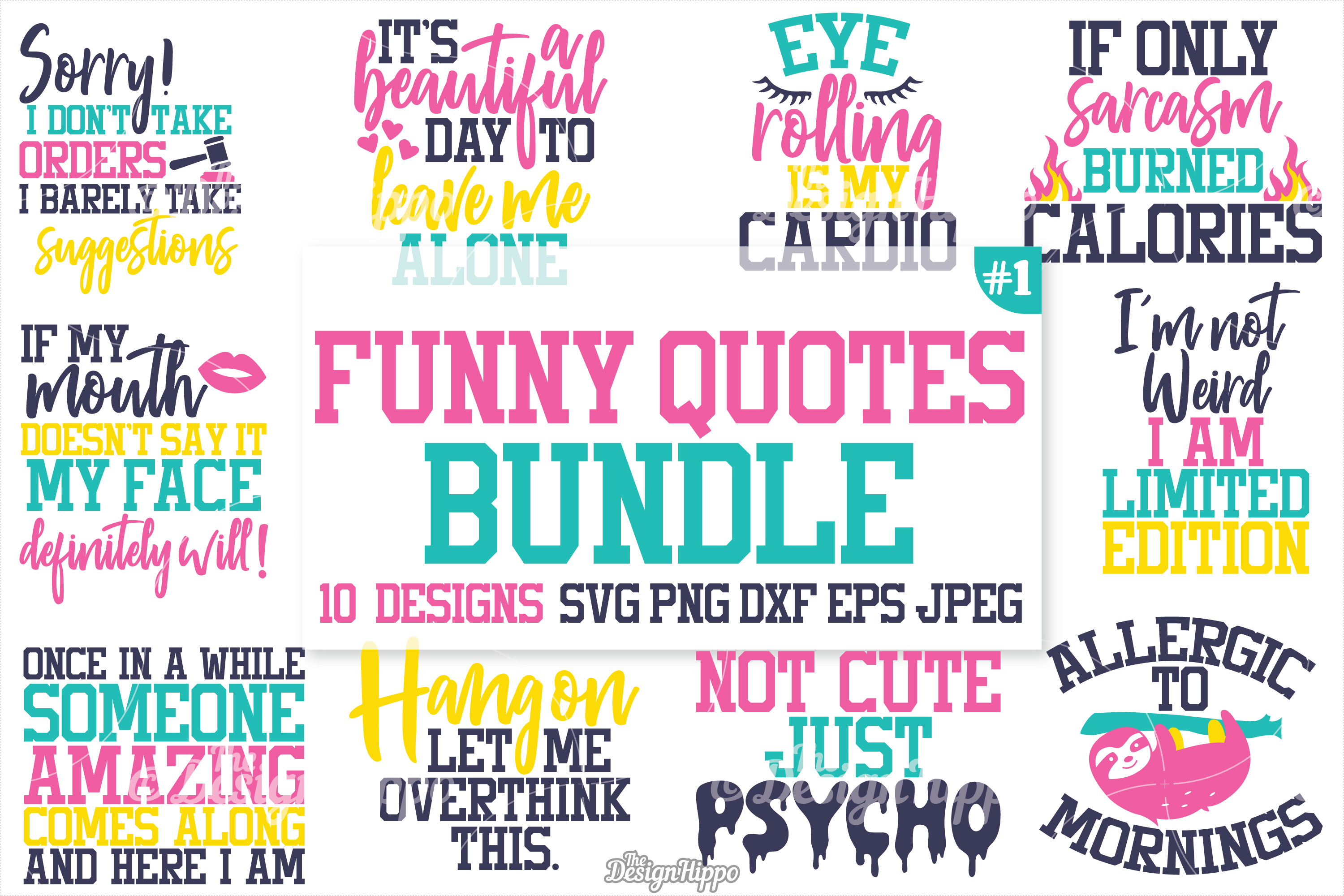 Download Free Funny Quotes Bundle Graphic By Thedesignhippo Creative Fabrica for Cricut Explore, Silhouette and other cutting machines.