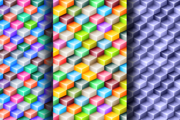 Geometric Seamless Patterns with 3d Glossy Cubes Graphic By Yurlick Image 2