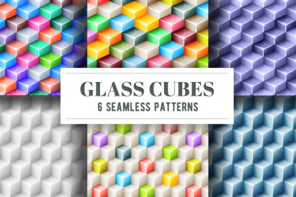 Geometric Seamless Patterns with 3d Glossy Cubes Graphic By Yurlick Image 1