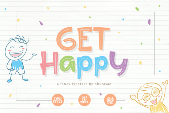 Print on Demand: Get Happy Display Font By Khurasan