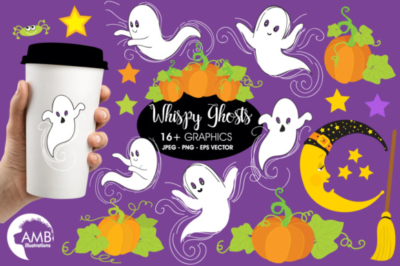 Download Free Ghosts Clipart Graphic By Ambillustrations Creative Fabrica for Cricut Explore, Silhouette and other cutting machines.