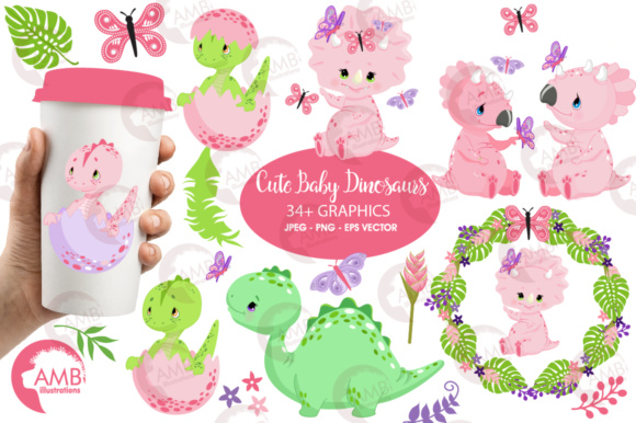 Download Free Girl Dinosaur Pack Graphic By Ambillustrations Creative Fabrica for Cricut Explore, Silhouette and other cutting machines.