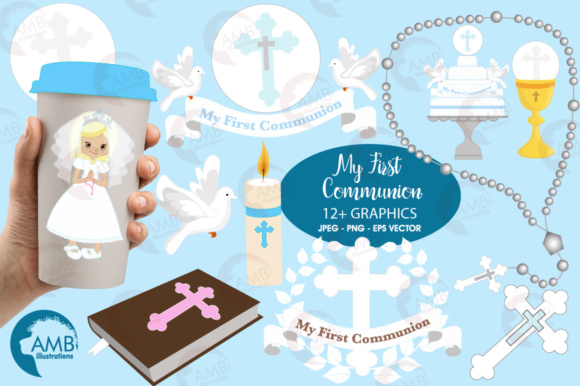 Girl First Communion Clipart Graphic Illustrations By AMBillustrations