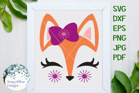 Download Free Girly Fox Face Graphic By Wispywillowdesigns Creative Fabrica for Cricut Explore, Silhouette and other cutting machines.