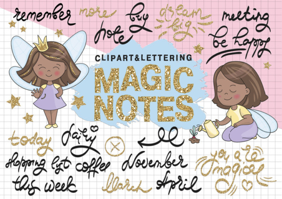 Glitter Clipart & Seamless Pattern Set with Lettering MAGIC NOTES Grafik Illustrationen von FARAWAYKINGDOM
