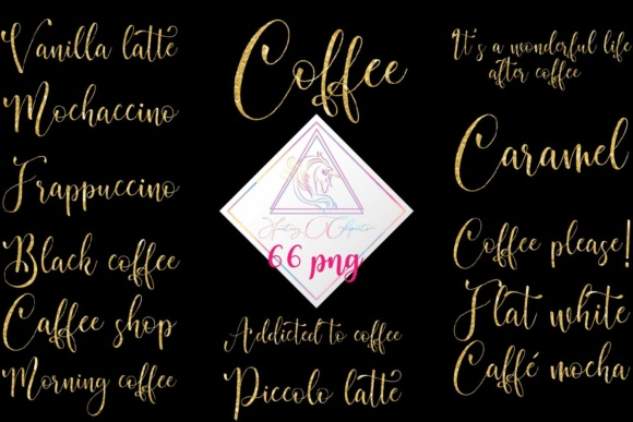 Print on Demand: Gold Glitter Coffee Word Art Clipart Graphic Illustrations By fantasycliparts