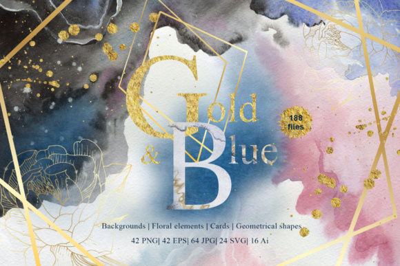 Print on Demand: Gold and Blue Watercolor and Vector Set Graphic Illustrations By MyStocks