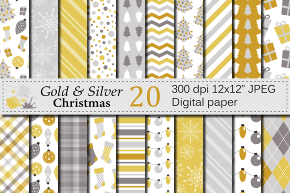 Download Free Gold And Silver Christmas Digital Paper Set Graphic By Vr for Cricut Explore, Silhouette and other cutting machines.
