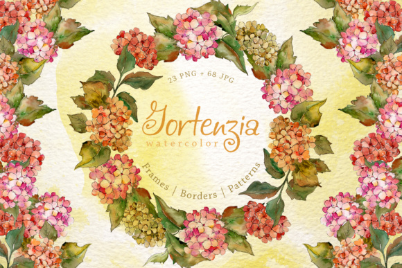 Print on Demand: Gortenzia Watercolor Flower Set Graphic Illustrations By MyStocks