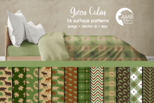 Green Cabin Life Papers AMB Graphic Patterns By AMBillustrations
