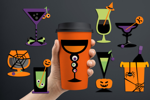 Print on Demand: Halloween Cocktail Glasses Drinks Graphic Illustrations By Revidevi