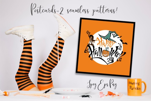Halloween. Designs for Cards and Holiday Decoration. Graphic Patterns By grigaola