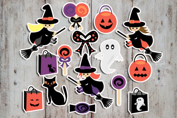 Print on Demand: Halloween Flying Witch and Candy Graphic Illustrations By Revidevi - Image 2