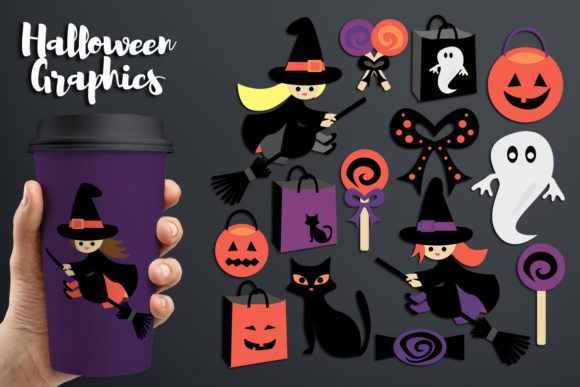 Print on Demand: Halloween Flying Witch and Candy Graphic Illustrations By Revidevi