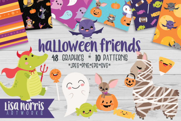 Halloween Friends Clip Art Graphic Illustrations By Lisa Norris Artworks