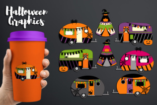 Halloween Happy Camper, Caravan and Camping Tent Graphic By Revidevi