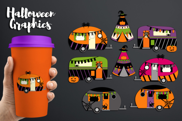 Print on Demand: Halloween Happy Camper, Caravan and Camping Tent Graphic Holidays By Revidevi