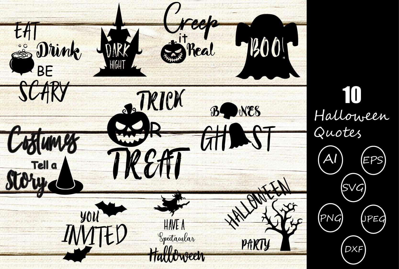Download Free Halloween Quotes Graphic By Design Haul Creative Fabrica for Cricut Explore, Silhouette and other cutting machines.