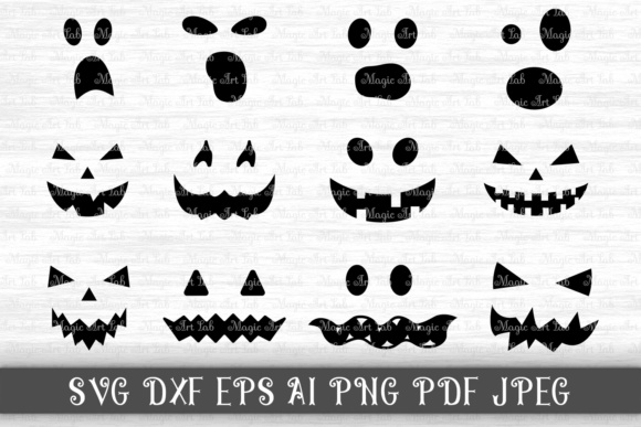 Download Free Halloween Jack Of The Lantern Pumpkin Faces Graphic By for Cricut Explore, Silhouette and other cutting machines.