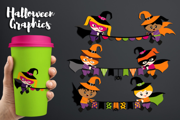 Print on Demand: Halloween Superhero Holding Bunting Banners Graphic Illustrations By Revidevi