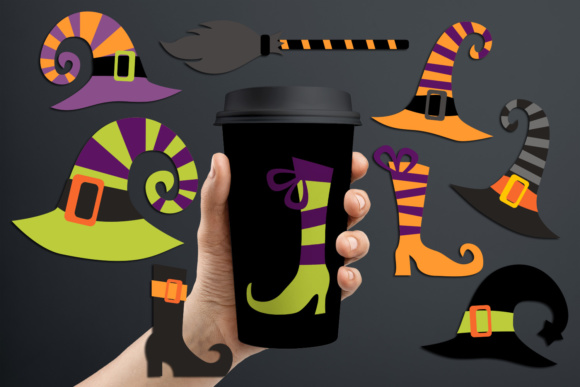 Print on Demand: Halloween Witch Hats and Boots Graphic Illustrations By Revidevi