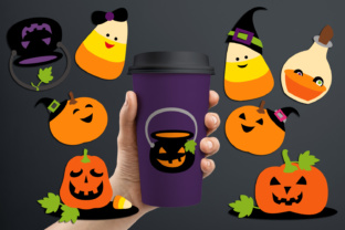 Halloween Candy Corn and Cute Jack O' Lantern Graphic By Revidevi