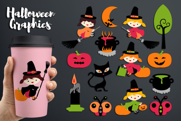 Print on Demand: Halloween Cute Girl Witch Graphic Illustrations By Revidevi