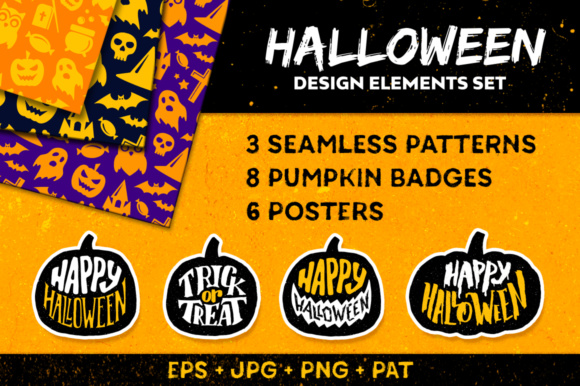 Halloween Decorative Elements Graphic Illustrations By Yurlick