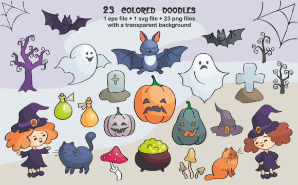 Download Free Halloween Doodles Set Graphic By Olga Belova Creative Fabrica for Cricut Explore, Silhouette and other cutting machines.