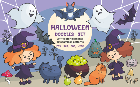 Print on Demand: Halloween Doodles Set Graphic Illustrations By Olga Belova