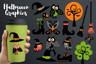 Halloween Owls, Witch Hats and Boots Graphic By Revidevi