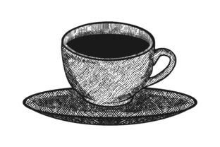 Download Free Hand Drawn Coffee Cup On Saucer Logo Graphic By for Cricut Explore, Silhouette and other cutting machines.