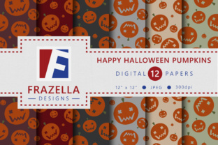 Download Free Happy Halloween Pumpkins Digital Paper Collection Graphic By for Cricut Explore, Silhouette and other cutting machines.