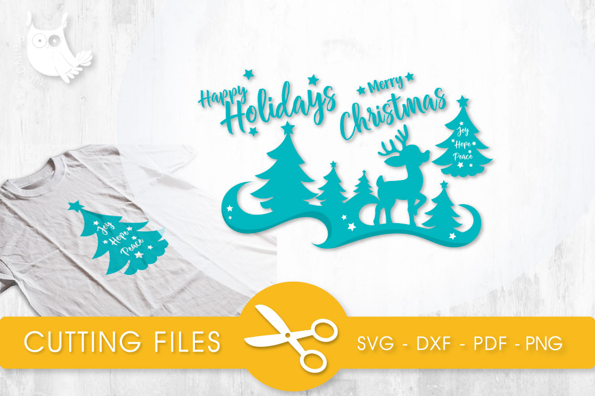 Download Free Happy Holidays Deer Silhouette Graphic By Prettycuttables for Cricut Explore, Silhouette and other cutting machines.