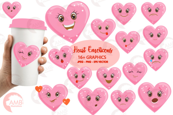 Heart Emojis Clipart Graphic Illustrations By AMBillustrations