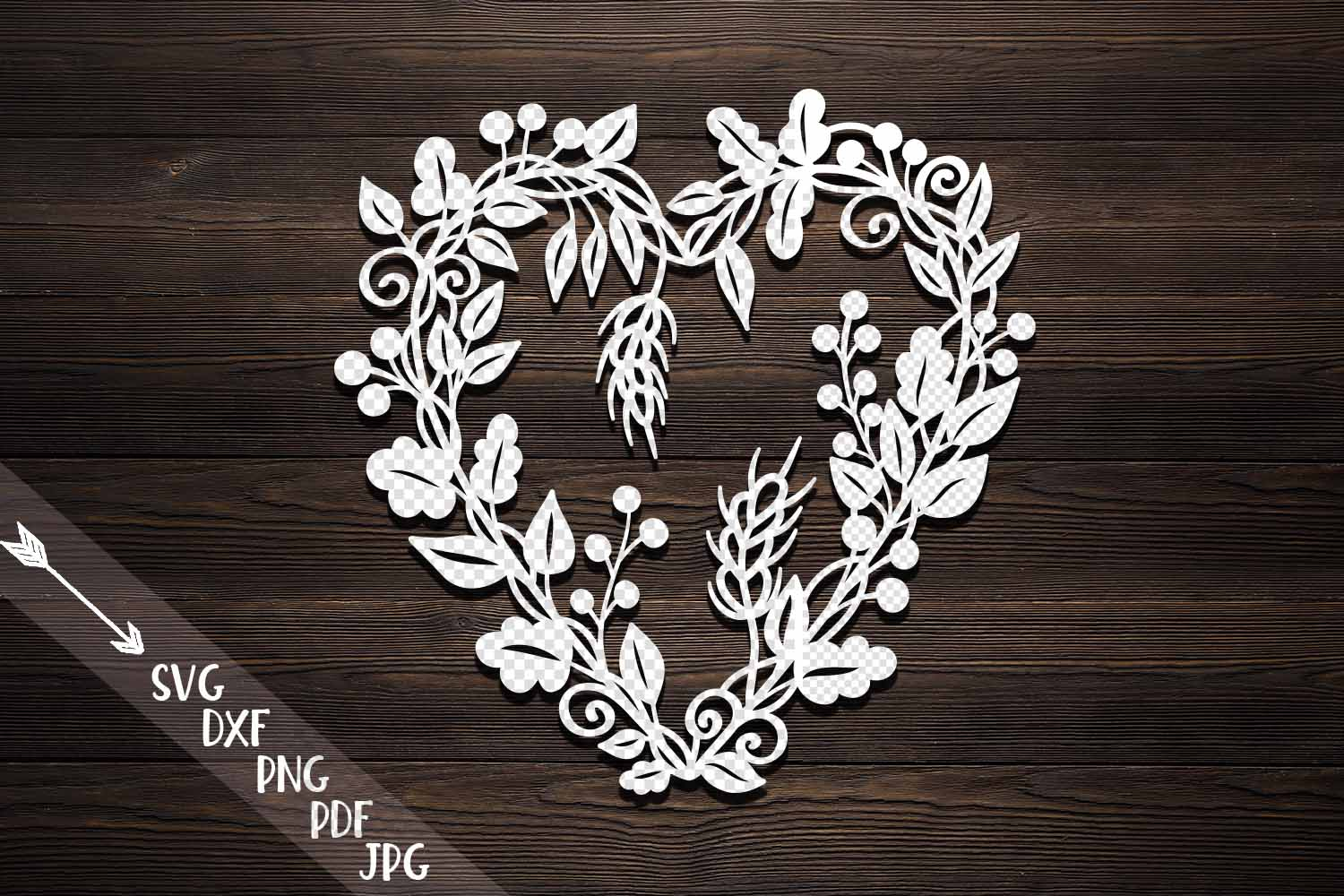 Download Free Heart Wreath Graphic By Cornelia Creative Fabrica for Cricut Explore, Silhouette and other cutting machines.
