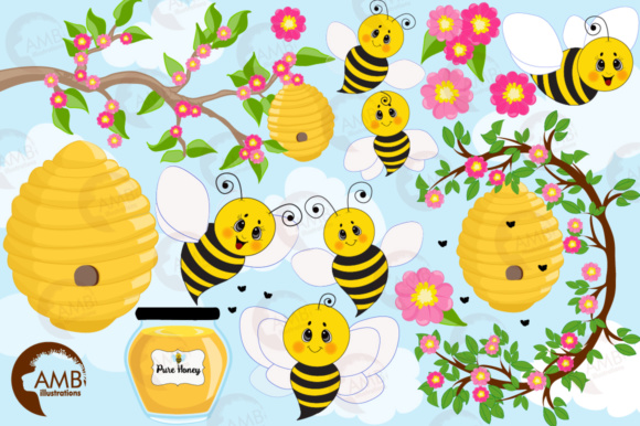 Honey Bee Clipart Graphic Illustrations By AMBillustrations - Image 4