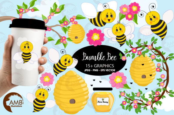 Honey Bee Clipart Graphic Illustrations By AMBillustrations - Image 1