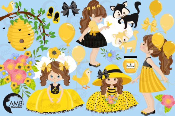 Honey Bee Girls Clipart Graphic Illustrations By AMBillustrations - Image 4
