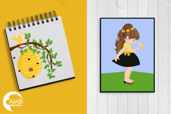 Honey Bee Girls Clipart Graphic Illustrations By AMBillustrations - Image 5