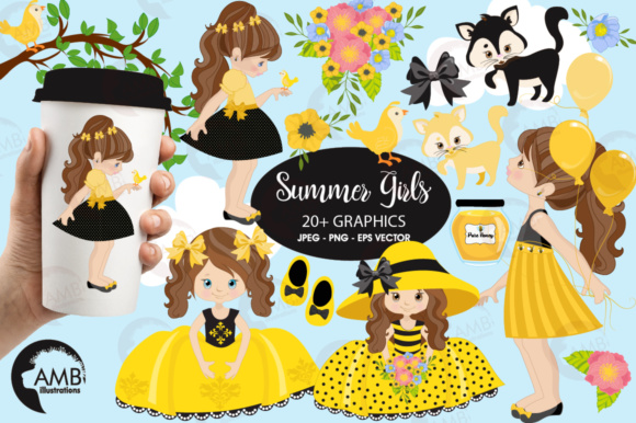 Honey Bee Girls Clipart Graphic Illustrations By AMBillustrations