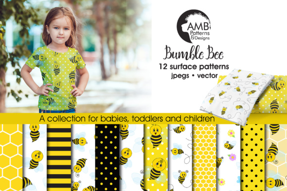 Honey Bee Papers Graphic Patterns By AMBillustrations