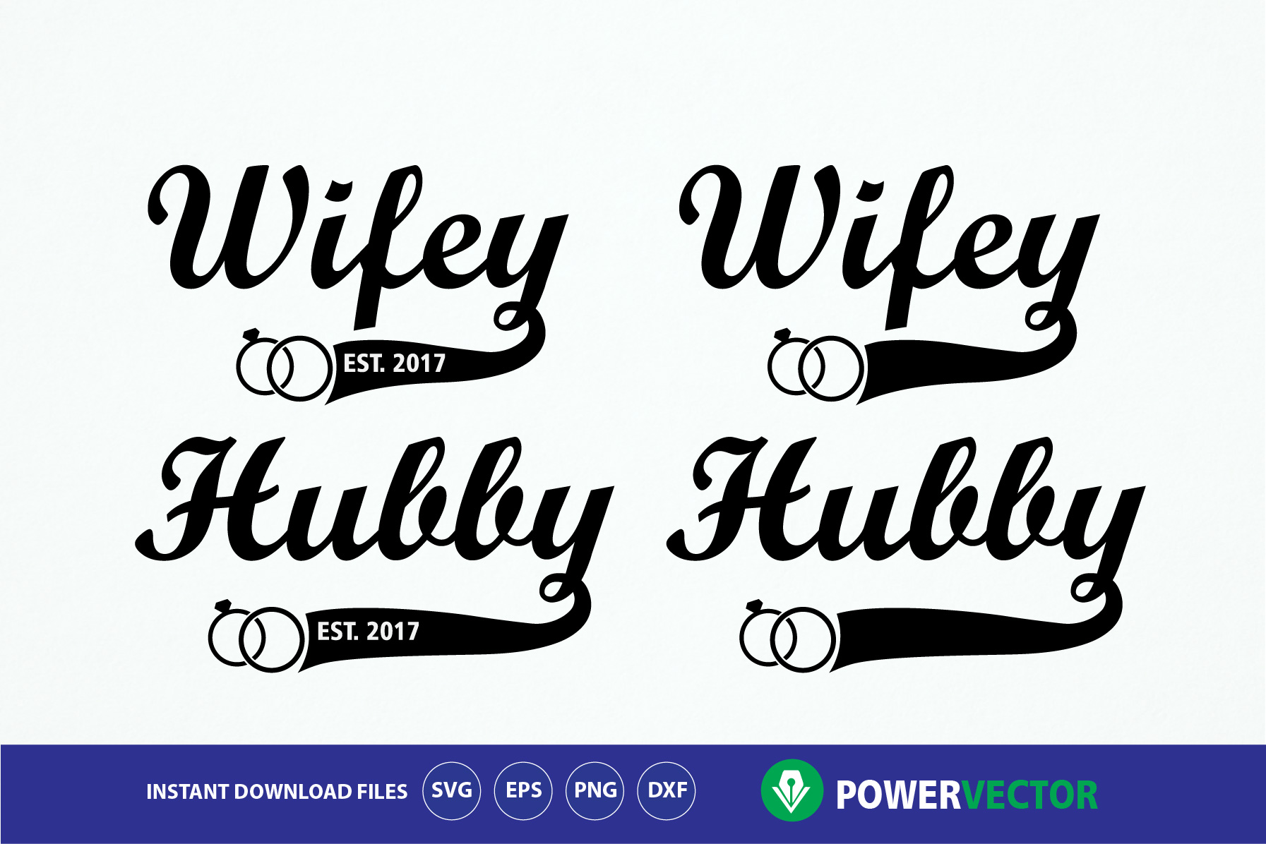 Download Free Hubby Wifey Design Grafico Por Powervector Creative Fabrica for Cricut Explore, Silhouette and other cutting machines.